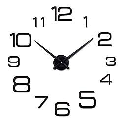 Wenzi-day Wall Clock Modern 3D Big Quartz Watch Clocks Living Room Large Clocks Home Decoration,Black,37inch