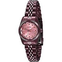Relógio Riviera Chic Visor Rosa Cristais Vermelho
