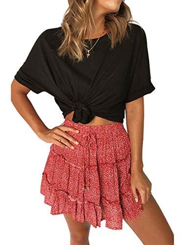 YIBOCK Women's Summer Polka Dot Pleated High Waist A Line Cute Beach Mini Short Skirt Red