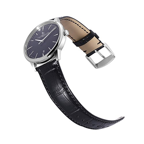 Calfskin Watch Band Genuine Calf Leather Replacement 18mm 20mm 22mm 24mm Strap Wrist Watchband Pin Buckle Clasp for Women Men (Calfskin Watch Band)