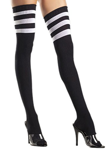 [Costume Adventure Women's Sexy Referee Thigh Hi Ribbed Stockings Socks] (Woman Referee Costume)
