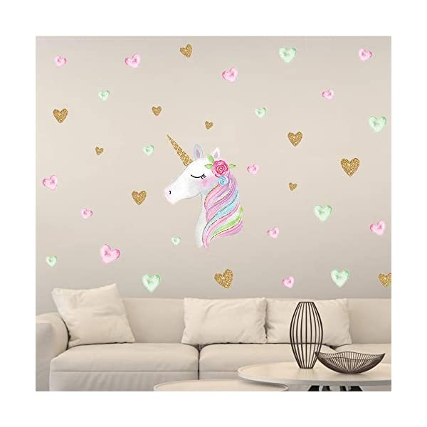 Unicorn Wall Decal, 4 Pack, 4 Styles, Unicorn Wall Stickers Decor with Heart & Stars for Girls Bedroom Home Decorations 4