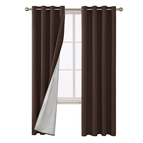 Deconovo Thermal Insulated Blackout Curtains with Silver Coating Grommet Top Energy Saving Drapery Panels for Dining Room 52W x 84L Inch Chocolate 1 Pair