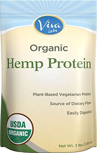 Viva Labs - 15g Organic Hemp Protein Powder, Cold-Milled for Higher Absorption, 3 LB Bag