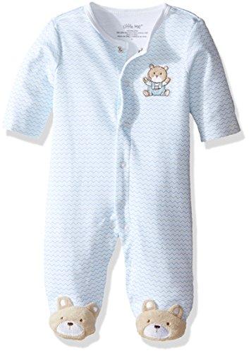 Little Me Baby-Boys Chevron Teddy Bear Footie, Light Blue, Newborn ()