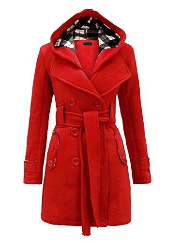 Allonly Women's Plaid Hooded Woolen Long Coat Double-breasted Belt
