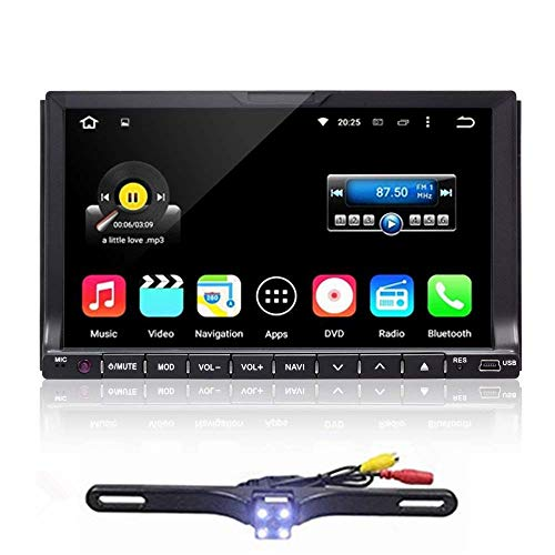 "Double 2 Din Car Stereo in Dash Car Radio iPod Bluetooth USB SD AUX SUB Mic Mp3 Player GPS Navigation AM/FM DVD Player 7"" HD Touch Screen BT DVD CD Receiver with Free Backup Camera & Map Card"