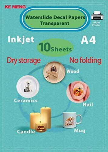 - KE MENG A4 Inkjet Waterslide Decal Papers Image Transfer Paper for Inkjet Printer (Transparent, 10 Sheets)