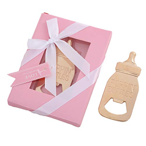 LAYSERI Pack of 12 POPPIN BOTTLES Bottle Opener Baby Shower Party Favors,Party Favors for Guest Souvenir Gift for Baby Shower Birthday Party Decorations Supplies with Gift Box (BOTTLE Pink Style, 12)