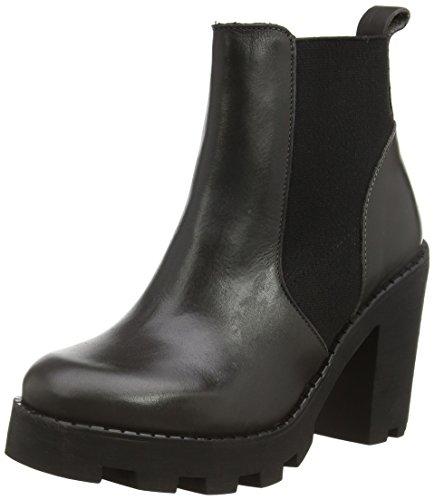 PIECES Psuzza Leather Boot Chelsea Castlerock - Botas de cuero para mujer gris - Grau (Castlerock)
