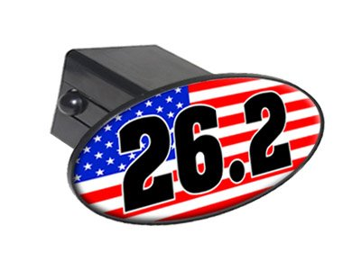 26.2 marathon usa flag country - united states - 2'' Tow Trailer Hitch Cover Plug Insert by Graphics and More