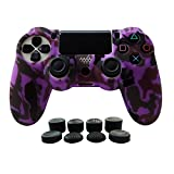 Cheap Hikfly Silicone Gel Controller Cover Protector Kits for Sony PS4 /PS4 Slim/PS4 Pro Controller Video Games(1 x Controller Cover with 8 x FPS Pro Thumb Grip Caps)(Purple)