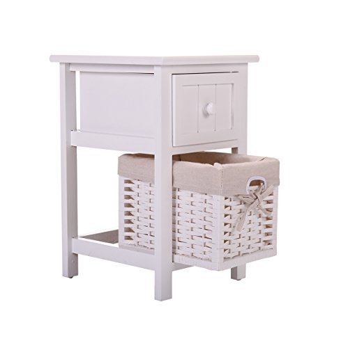 JAXPETY Night Stand 2 Layer 1 Drawer Bedside End Table Organizer Bedroom Wood W/Basket (1) by JAXPETY (Image #4)'