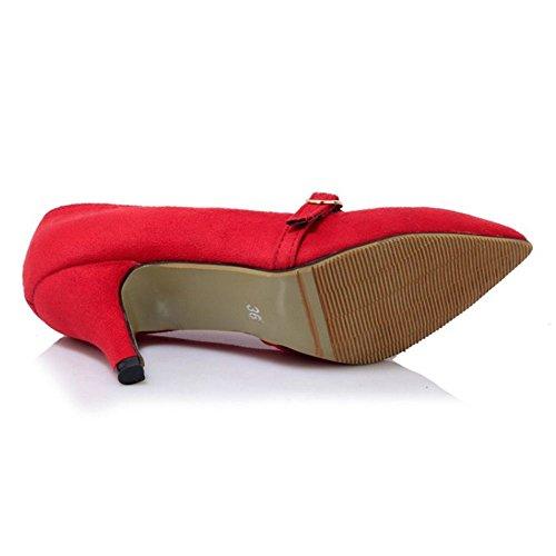 3a449449 ... COOLCEPT Mujer Moda Cerrado Mini Tacon Puntiagudo Court sin Cordones  Bombas Zapatos Rojo ...