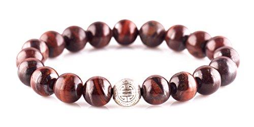EDENKISS Tibetan Buddhist Longevity Beads Prayer Mala (10mm Bead Red Tiger Eye Agate Longevity)