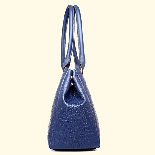 Leatherette Bags Handbag purpose of Classic Purse Design 4 Leather Women Dark Blue Pack Multi Shoulder Patent EwqxOfPPF