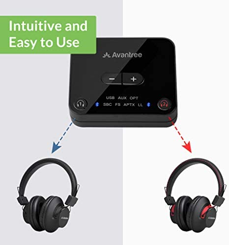 [New] Avantree HT41899 Dual Bluetooth 5.0 Wireless Headphones for TV Watching with Transmitter (Digital Optical AUX RCA PC USB), 40 Hrs Playtime Wireless Hearing Headset, Plug n Play, No Audio Delay 419cVxFt5QL