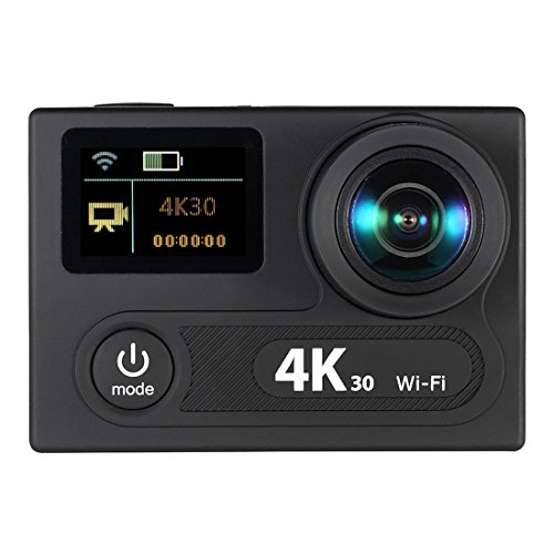 SODIAL(R) 2inch Dual Screen LCD Sports Action Camera Ultra HD 360 VR Play Wifi 4K 30fps 1080P 60fps 12MP 170 Wide-angle for Multimedia Interface Output Waterproof 30M with Remote Control by SODIAL(R)