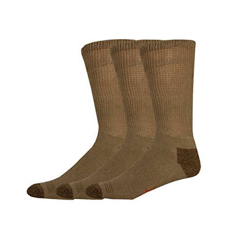 Dockers Men's 3 Pack Cushion Comfort Non Binding Basic Cotton Crew Socks, Khaki, Sock Size:10-13/Shoe Size: 6-12