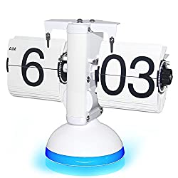 KABB New Generation Flip Clock Mechanical Retro Flip Clock Internal Gear Operated Flip Down Clock with Voice Control LED Nightlight for Living Room Office Home Decoration (White with Blue Light)