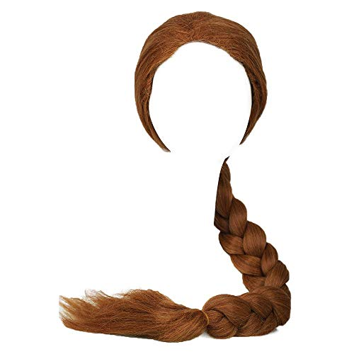 Coslive Shrek Princess Fiona Wig Ultra-Long Brown Braid Wig Cosplay Accessory -
