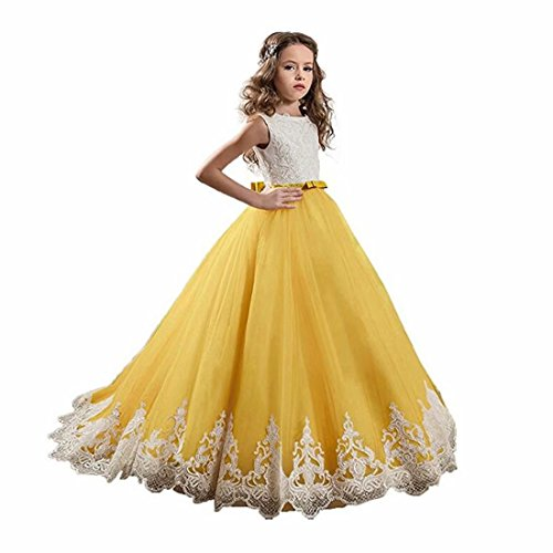 Angel Dress Shop Pageant Flower Girl Dress Lace with Bow Ball Gown Kids First Holy Communion Dress Little Train Yellow -