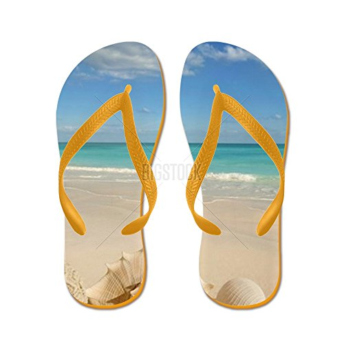 Cafepress Sea Shells Starfish Tropical Sand Turqu Flip Flops - Chanclas, Sandalias Thong Divertidas, Sandalias De Playa Naranja