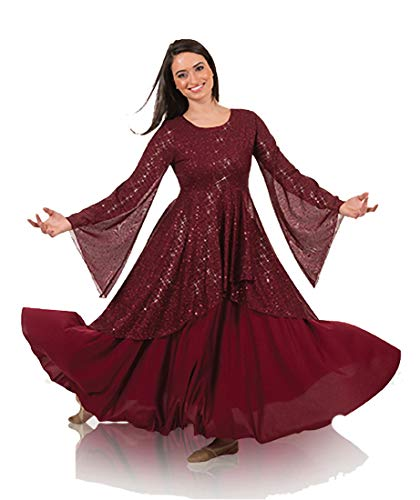 Body Wrappers Womens Twinkle Long Sleeve Tunic (TW662) -Burgundy -S ()