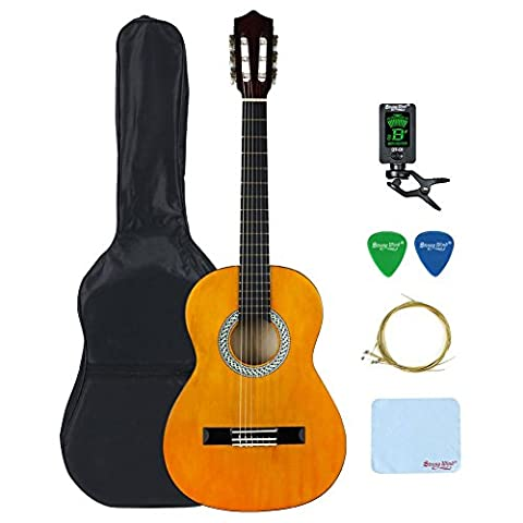 4/4 Size Classical Acoustic Guitar, Strong Wind 39 Inch 6 Nylon Strings Guitar Beginner Kit Guitar Starter Pack with Tuner, Picks, Carrying bag, Strings and Cleaning Cloth for Students Children (Professional Guitar Tuner)