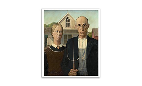 American Gothic - Grant Wood - Most Expensive Paintings - 24x20 Matte Poster Print Wall Art (Grant Wood American Gothic Painting)