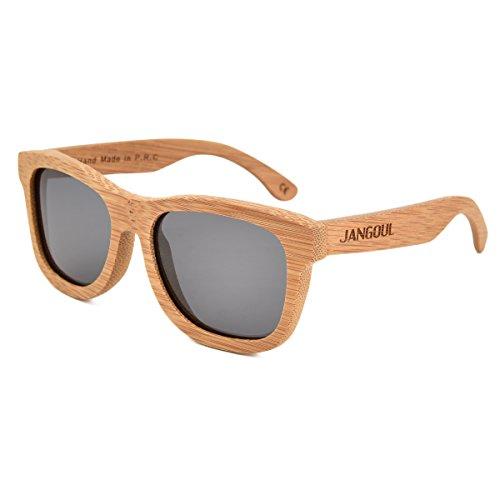 JANGOUL Polarized Sunglasses Carbonized Bamboo Frame For Men Women with Gift Box