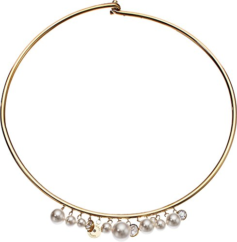 Michael Kors Modern Classic Gold-Tone and White Pearl Flexi Choker Necklace ()