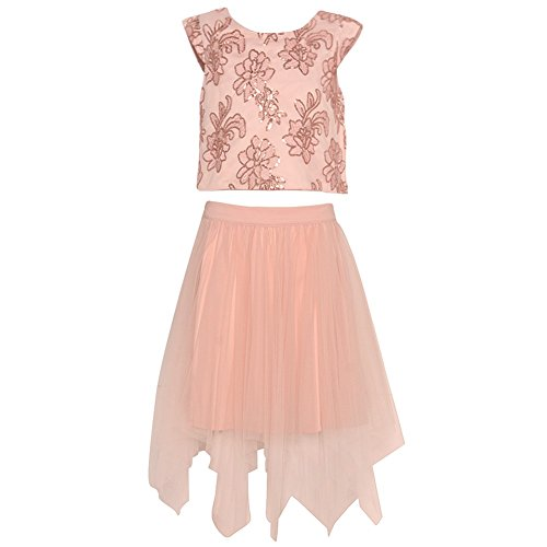 Rare Pink Editions Capris (Rare Editions Big Girls Blush Flower Detailed Angled Hem 2 Pc Skirt Outfit 8)