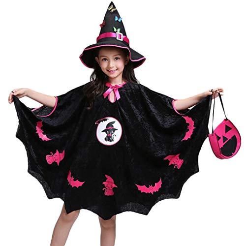 Yezijin Halloween Party Costumes, Kids Baby Girls Halloween Costume Dress Party Cloak+Hat Outfit+Pumpkin Bag (6-7T) -