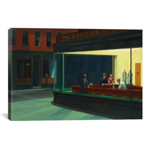 iCanvasART 13378 Nighthawks Canvas Print by Edward Hopper, 12 by 8-Inch, 0.75-Inch (Nighthawks 1942 Edward Hopper)