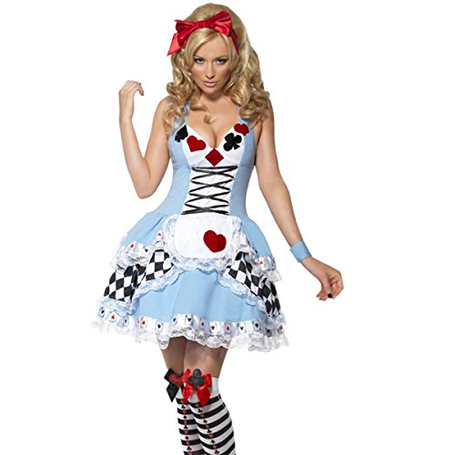 Quesera Women's Miss Wonderland Costume Adult Alice Maid Halloween Costume Dress,Blue,Tag size XL=US size Medium