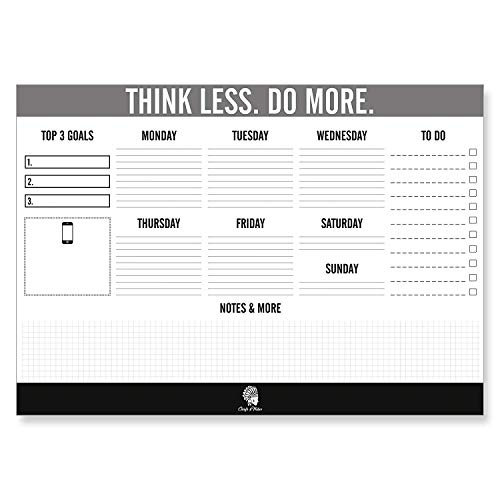 CHIEFS & TRIBES Desk Pad Calendar for Writing I Paper: White I Tear-Off Sheets I for Dates & Notes I Daily Planner & Weekly Overview I to-Do List 2019