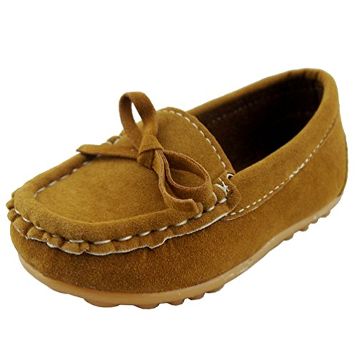 DADAWEN Girl's Boy's Suede Slip-on Loafers Casual Shoes Brow