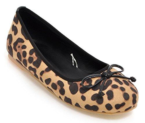 Sfnld Dames Trendy Ronde Neus Laag Uitgesneden Linten Boog Knoop Platte Schoenen Luipaard