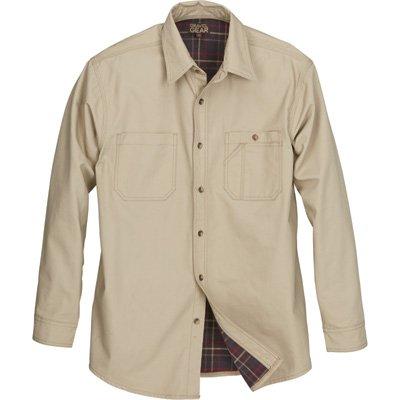 Gravel Gear Flannel-Lined Cotton Canvas Shirt Jacket - Khaki, Large - Cotton Canvas Jacket