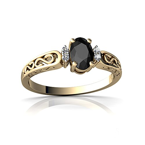 14kt Yellow Gold Black Onyx and Diamond 6x4mm Oval filligree Scroll Ring - Size 8