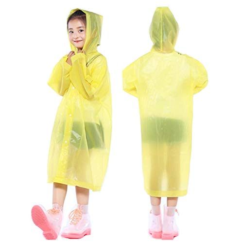 (PERTTY 2 Pcs Kids Rain Ponchos Reusable Raincoats Portable Rain Wear with Hat Hood Unisex for 6-12 Years Old Children (Yellow))