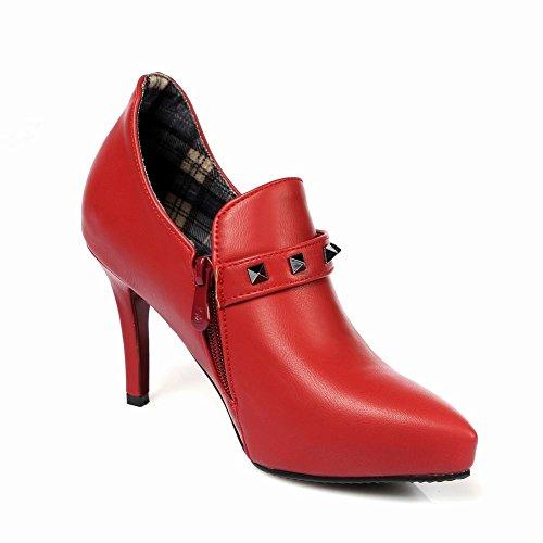 Carolbar Kvinna Spetsig Tå Sexig Spänne Dubbade Nit Datum Hög Stilett Klack Klänning Boots Röd