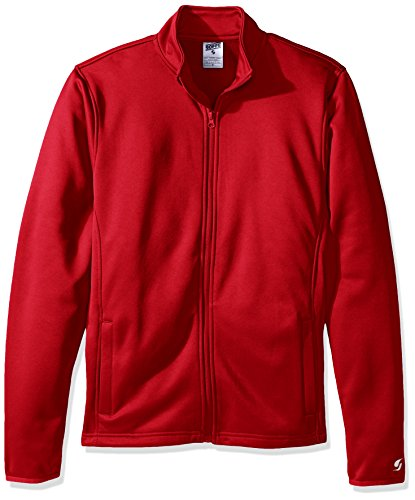 Soffe Men's Adlt Poly Tech Fleece Jacket, Red, Medium