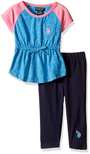 - U.S. Polo Assn. Baby Girls' Snowflake Raglan Knit Tunic Top and Legging, Blue Heather, 18M