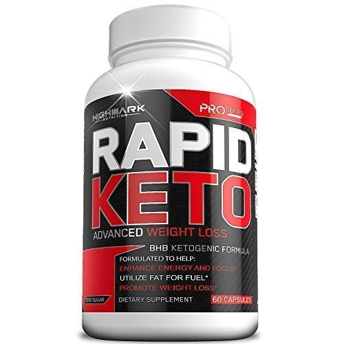 Rapid Keto Diet Pills | Advanced Ketogenic Diet Weight Loss Supplement | BHB Salts Exogenous Ketones Capsules for Men & Women | Fast & Effective Ketosis Diet Fat Burner | Promote Energy & Focus | 60