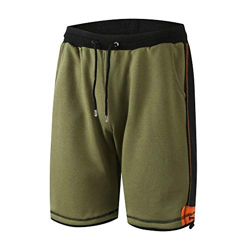 MensCasual Classic Outdoor Sports CasualBreathable Workout Running Shorts with Pockets Olive Small