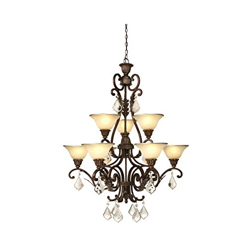 Chandeliers 9 Light Bulb Fixture with Multi Tone Bronze Finish Caramelized Glass with Crystal Jewels Medium 32