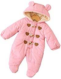 ff0ce0af3 Baby Girl Hooded Snowsuit Toddler Winter Warm Puffer Quilted Down Bunting  Snowsuit