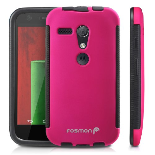 Fosmon HYBO-SNAP Durable Full Body Protection Hybrid Case with Built-In Screen Protector for Motorola Moto G (1st Generation Only) / Motorola DVX - Retail Packaging (Pink)